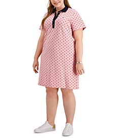 Plus Size Dot Print Short-Sleeve Polo Dress, Created for Macy's