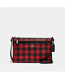 COACH East West Buffalo Plaid Print Crossbody Bag With Pop-Up Pouch