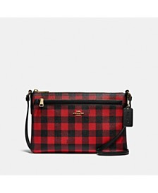 East West Buffalo Plaid Print Crossbody Bag With Pop-Up Pouch