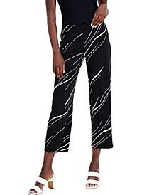 Petite Printed Pull-On Cropped Pants, Created for Macy's