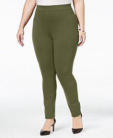 Plus Size Seamed Ponté-Knit Leggings, Created for Macy's