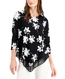 Floral-Print Point-Hem Top, Created for Macy's