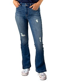 Juniors' Ripped Bootcut Jeans