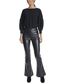 Juniors' Faux-Leather Flare Jeans