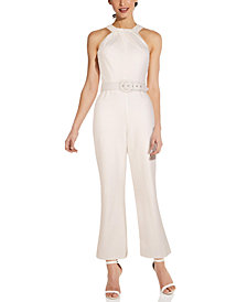 Adrianna Papell Belted Halter-Neck Jumpsuit