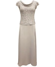 Chiffon Cowlneck Gown