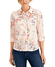 Petite Printed 3/4-Sleeve Shirt, Created for Macy's
