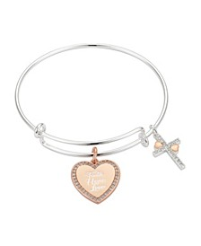 """Crystal """"Faith Hope Love"""" Heart Cross Adjustable Bangle Bracelet in Stainless Steel and Rose Gold Two-Tone Fine Silver Plated Charms"""