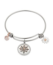 "Crystal ""Friends Were Flowers"" Adjustable Bangle Bracelet in Stainless Steel and Rose Gold Two-Tone Fine Silver Plated Charms"