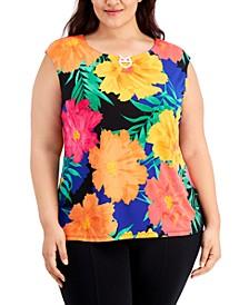 Plus Size Embellished Floral-Print Top
