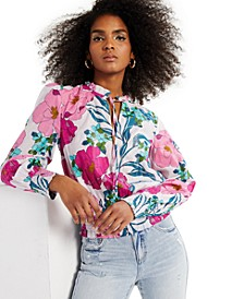 INC Smocked Floral-Print Blouse, Created for Macy's