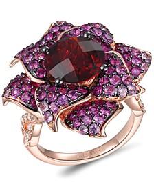 Multi-Gemstone (7-1/10 ct. t.w.) & Nude Diamond (3/8 ct. t.w.) Flower Statement Ring in 14k Rose Gold
