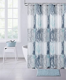 "Squares Printed Waffle Shower Curtain, 70"" W x 72"" L"