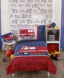 Fire truck Red 4 Piece Bedding Set