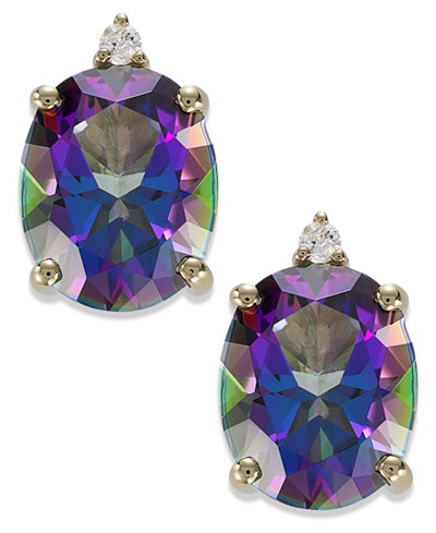 14k Gold Mystic Topaz (7 ct. t.w.) and Diamond Accent Oval Earrings