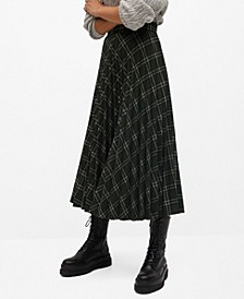 Women's Checked Pleated Skirt