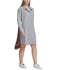 Plus Size Mixed-Print Shirtdress
