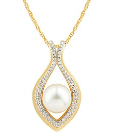 "Cultured Freshwater Pearl (8mm) & Diamond (1/5 ct. t.w.) 18"" Pendant Necklace in 14k Gold"
