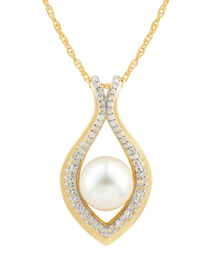 """Cultured Freshwater Pearl (8mm) & Diamond (1/5 ct. t.w.) 18"""" Pendant Necklace in 14k Gold"""