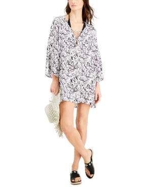 Printed Lace-Up Cover-Up Tunic Women's Swimsuit