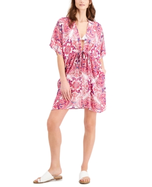 Printed Cinched-Waist Cover-Up Kimono Women's Swimsuit