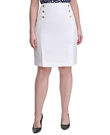 Plus Size Side-Button Pencil Skirt