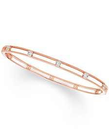 Diamond Bezel Bangle Bracelet (1/4 ct. t.w.) in 10K White , Yellow Or Rose Gold