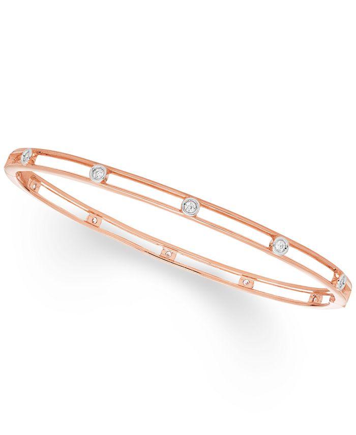 Macy's - Diamond Bezel Bangle Bracelet (1/4 ct. t.w.) in 10K White , Yellow Or Rose Gold