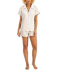 INC Satin Notched Collar Top & Shorts Pajamas Set, Created for Macy's
