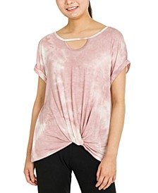 Juniors' Twist-Hem Keyhole-Cutout Top