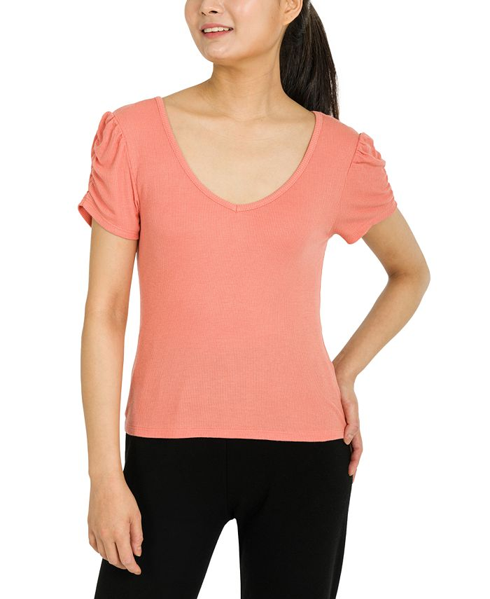 Hippie Rose - Juniors' Ruched-Sleeve Top