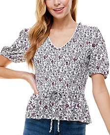 Juniors' Floral-Print Peplum Top