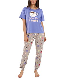 Latte Jogger Pants Pajama Set