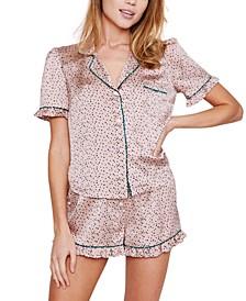 Ellie Satin Dot-Print Shorts Pajama Set