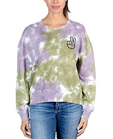 Juniors' Peace-Hand Tie-Dyed Sweatshirt