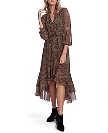 Leopard-Print High-Low Dress