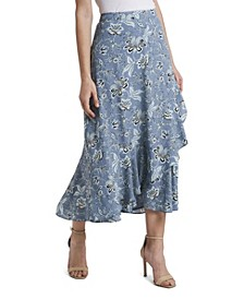 Women's Antique Floral Faux Wrap Skirt