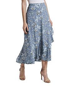 Vince Camuto Women's Antique Floral Faux Wrap Skirt