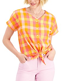 Printed Button-Down Tie-Front Top, Created for Macy's