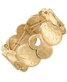Gold-Tone Hammered Disc Stretch Bracelet, Created for Macy's