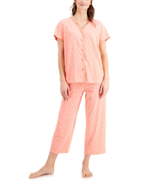 Charter Club Cottons SHORT SLEEVE TOP AND CROPPED PANT COTTON PAJAMA SET, CREATED FOR MACY'S