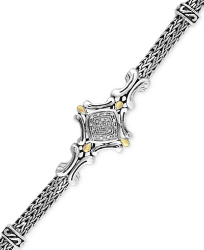 Balissima by EFFY Diamond Accent Curve Detail Bracelet in Sterling Silver and 18k Gold