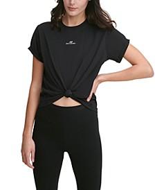 Sport Cotton Logo Knot-Front T-Shirt