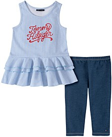 Little Girls Vertical Stripe Tunic with Faux Knit Denim Legging, Two Piece Set