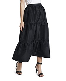 Women's Iridescent Tiered Taffeta Skirt