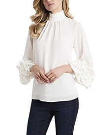 Women's High Neck Ruffle Sleeve Blouse