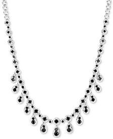 "Black Diamond Dangle 18"" Statement Necklace (6 ct. t.w.) in Sterling Silver"
