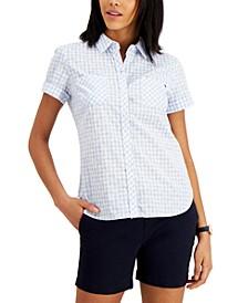 Cotton Gingham-Print Camp Shirt
