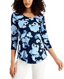 Paisley-Print 3/4-Sleeve Scoop-Neck Top, Created for Macy's