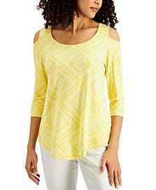 Petite Amalfi Cold-Shoulder Printed Top, Created for Macy's
